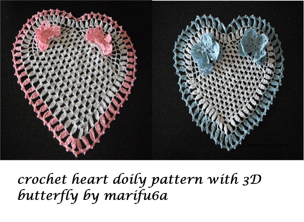 3d butterfly Crochet Pattern Unique Crochet Heart Doily with 3d butterfly by Marifu6a Craftsy Of Amazing 44 Models 3d butterfly Crochet Pattern