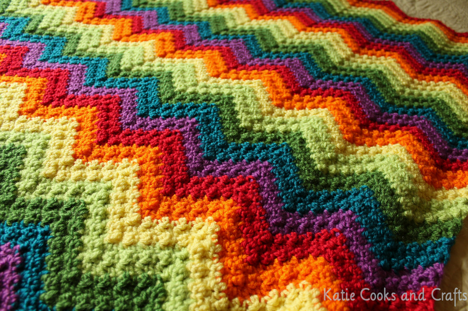 Afghan Blanket Pattern Fresh Katie Cooks and Crafts Rumpled Ripple Rainbow Crochet Of Attractive 40 Pics Afghan Blanket Pattern