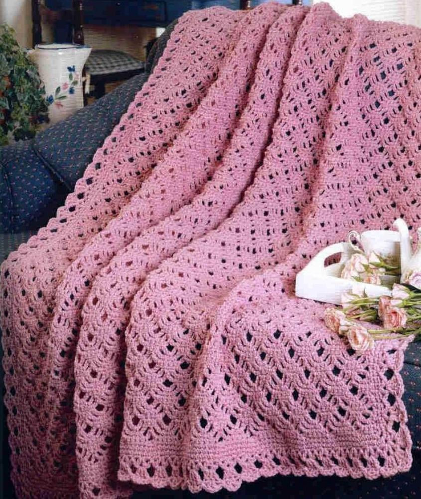 Crochet Pattern Afghan Blanket Throw Pretty Scallop