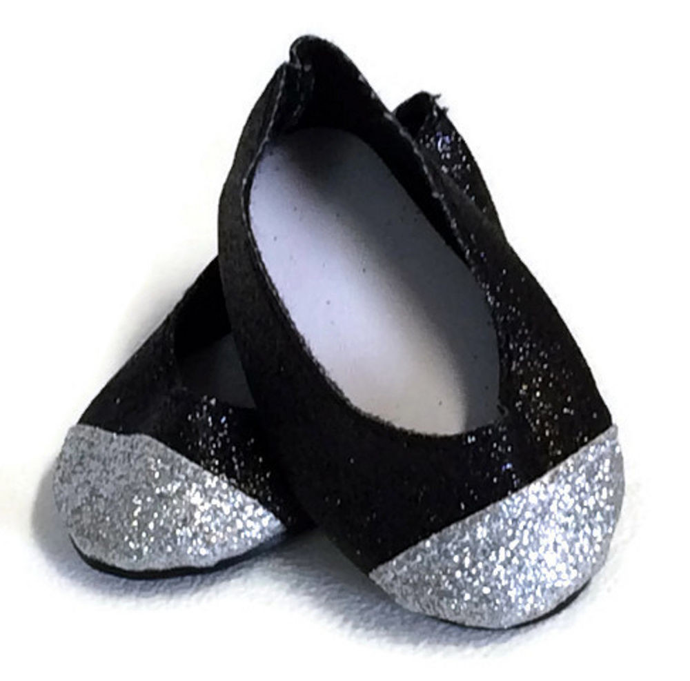 """Black & Silver Glitter Shoes made for 18"""" American Girl"""