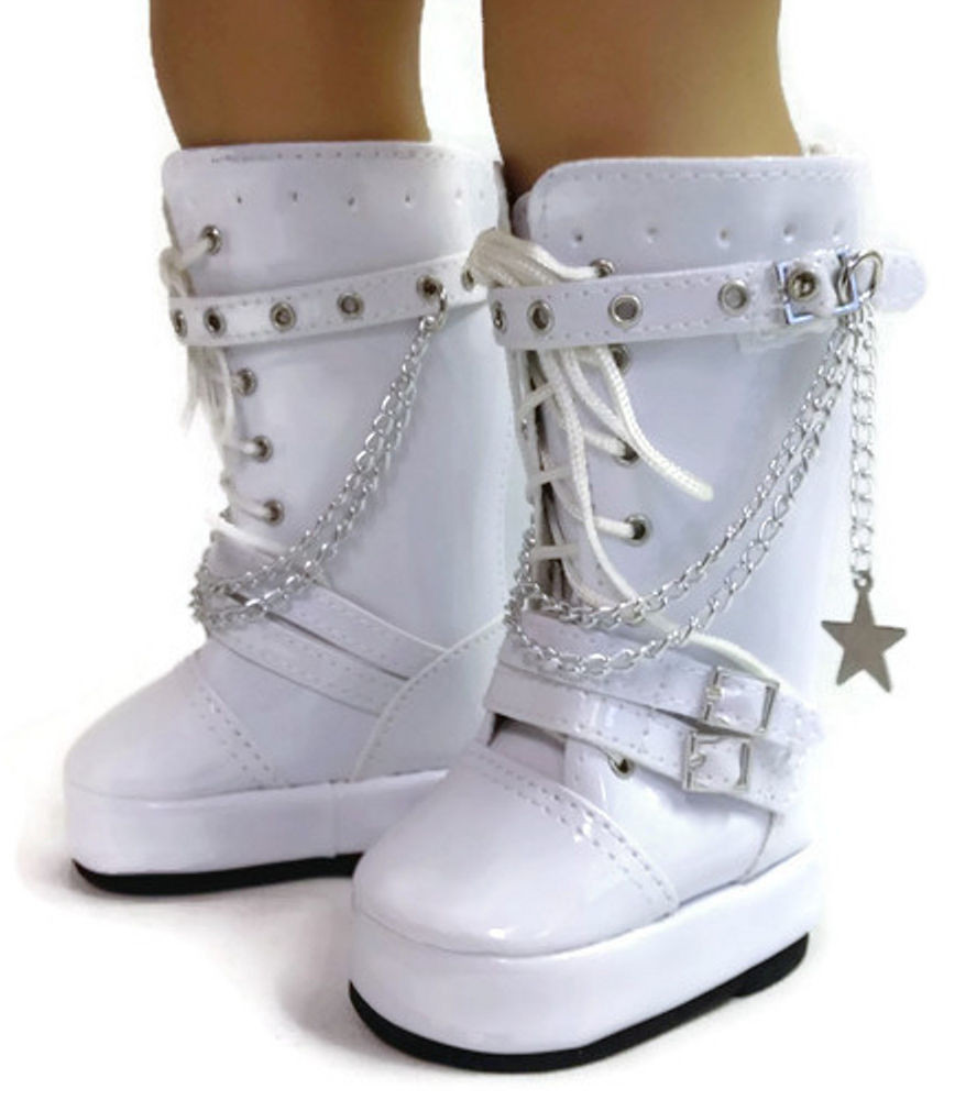 """American Girl Doll Shoes Fresh White Go Go Boots with Chains Shoes Made for 18"""" American Of Attractive 48 Models American Girl Doll Shoes"""