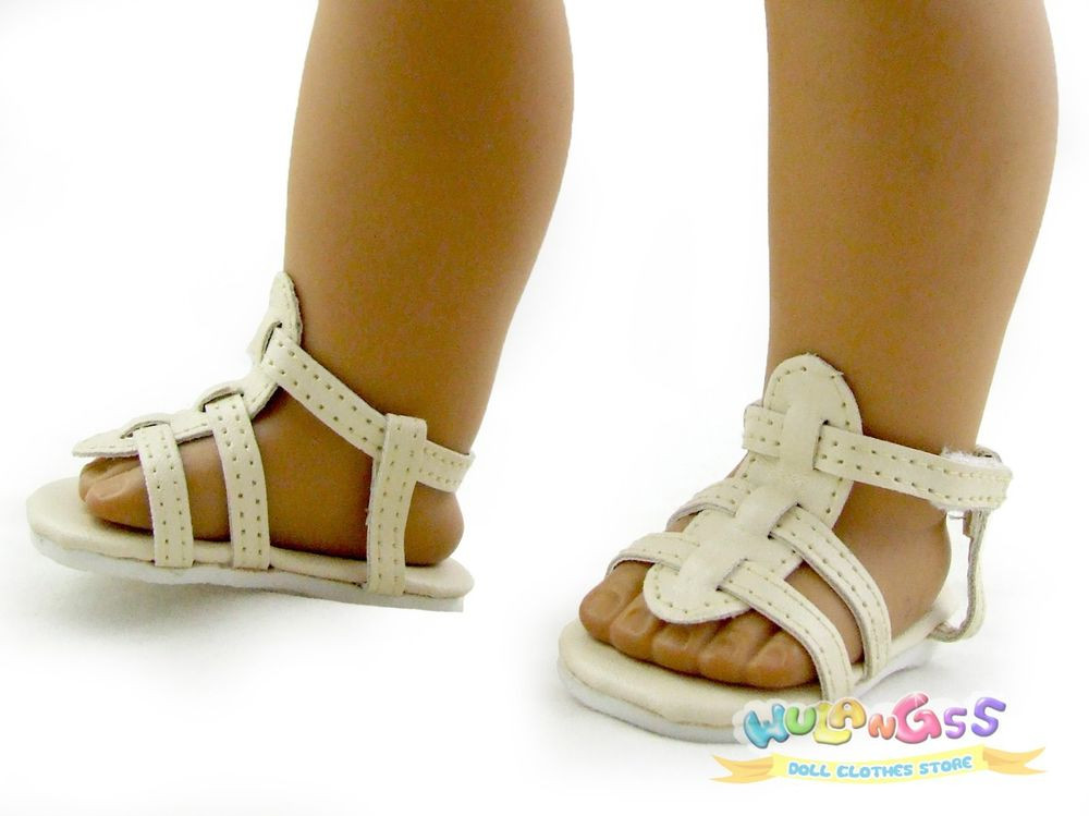 Doll Shoes made for 18 American Girl Beige Sandals