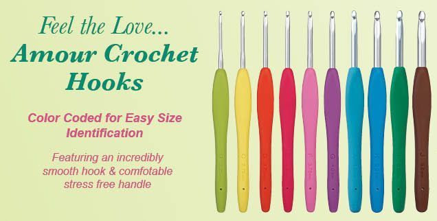 Clover Amour Soft Touch Coloured Crochet Hook 2mm to