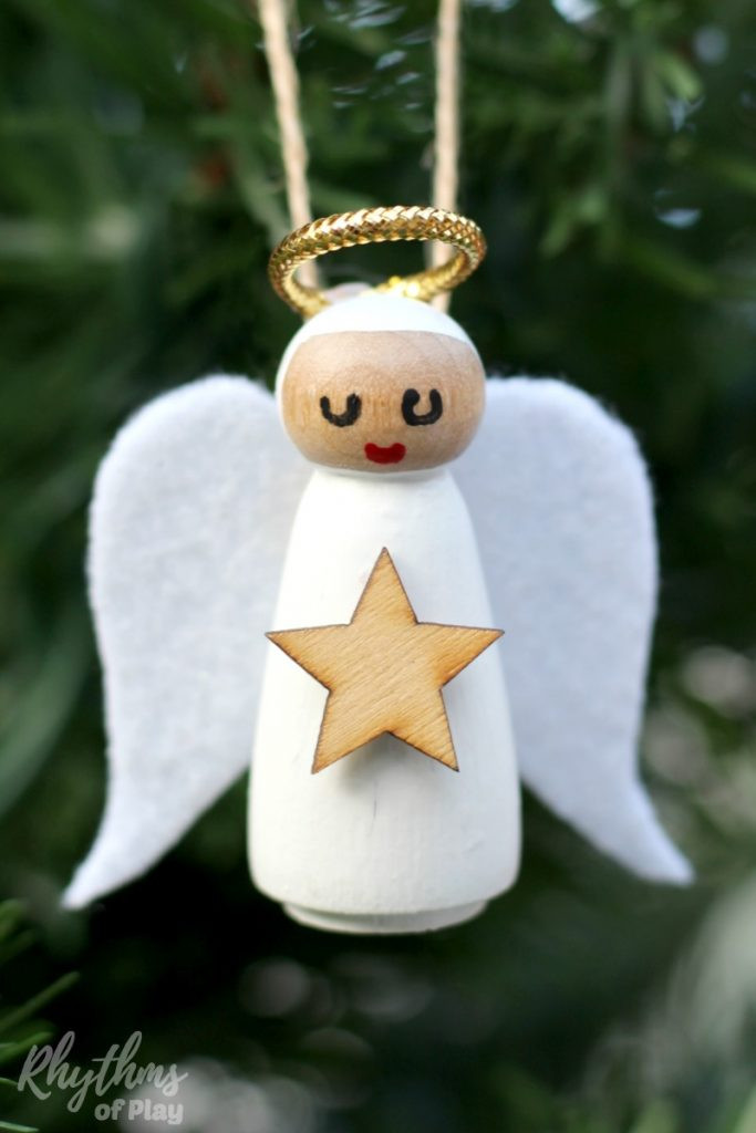 Angel Christmas ornaments New Diy Wooden Peg Doll Angel ornament Of Gorgeous 40 Photos Angel Christmas ornaments