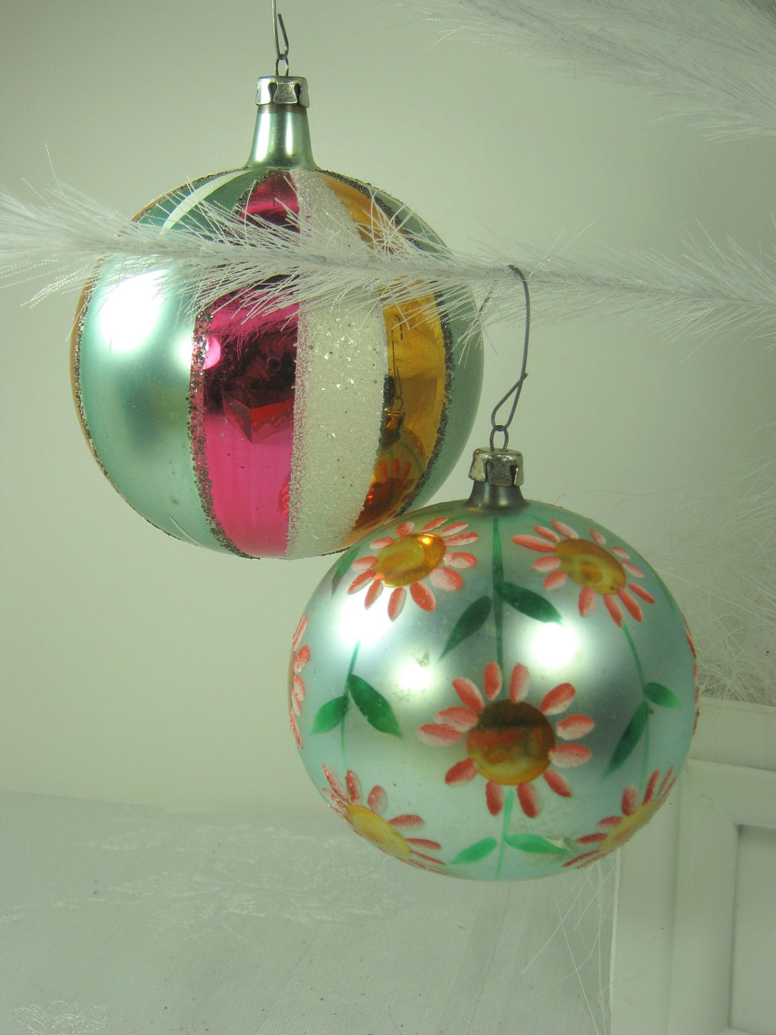 vintage mercury glass ornaments huge hp