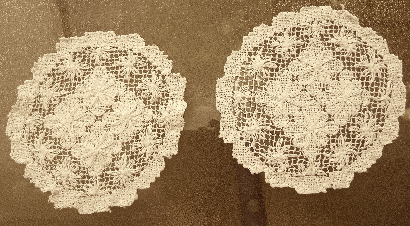 "Set of Two Antique Lace Doilies 7"" and 8"" Light Ecru"