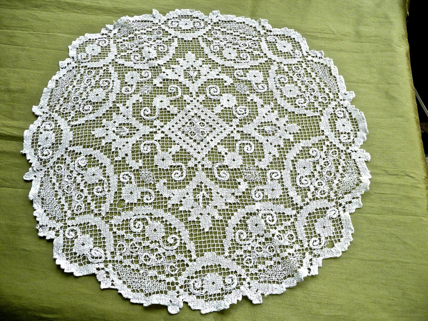 Antique Doily Irish Mondano Lace Doily by thekingsmistress
