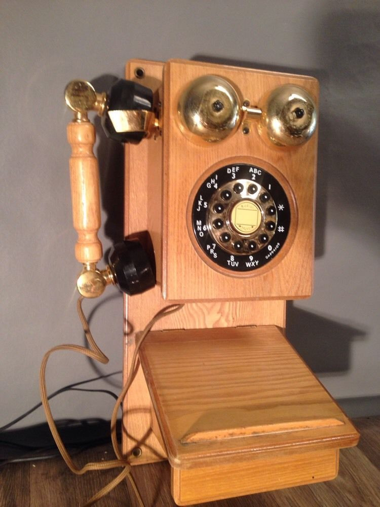 Antique Replica Wall Mount Telephone Vintage Country Oak