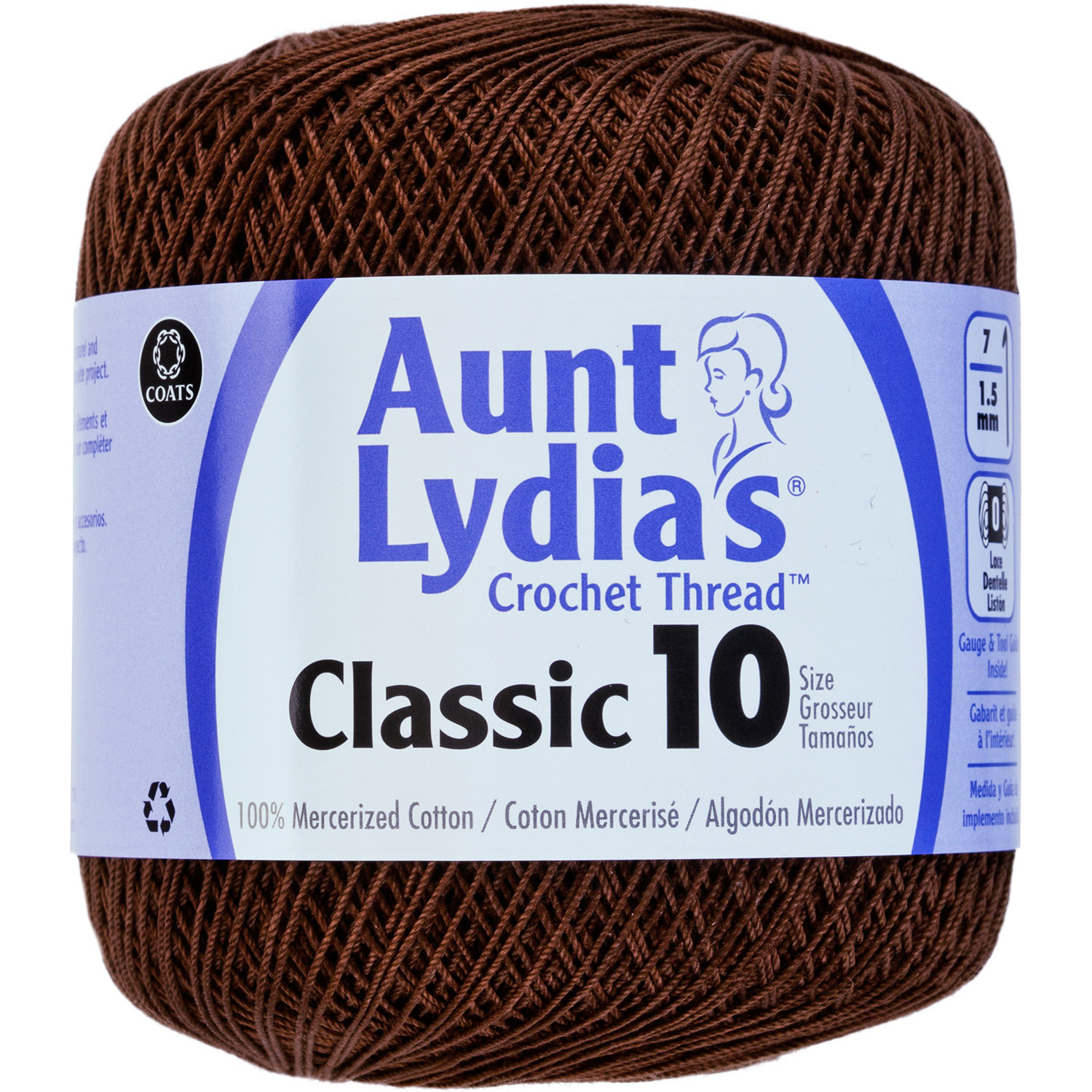 Aunt Lydia s Classic Crochet Thread Size 10 Fudge Brown