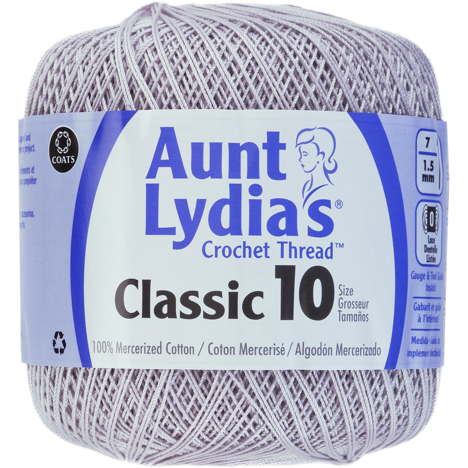 Aunt Lydia s Classic Crochet Thread Size 10 Silver
