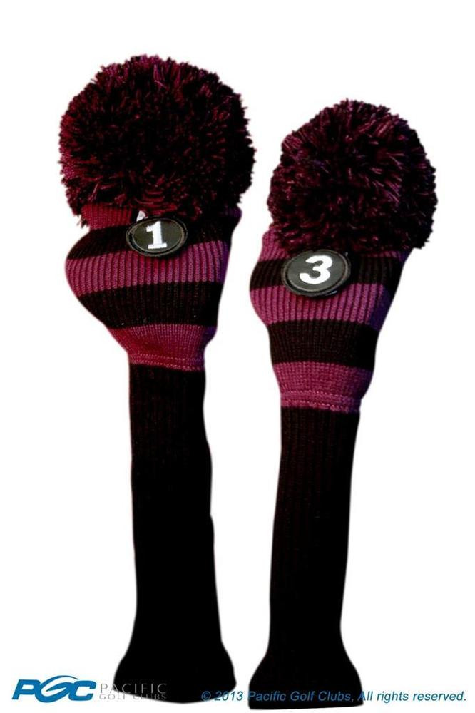 Awesome 1 3 Classic Black Purple Knit Pom Golf Club Headcover Pom Knit Golf Headcovers Of Innovative 47 Models Knit Golf Headcovers