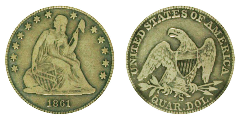 Awesome 1861 S Seated Liberty Quarters Value and Prices Liberty Quarter Value Of Contemporary 45 Photos Liberty Quarter Value