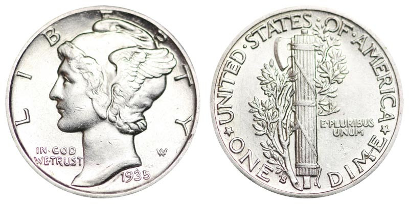 1935 S Mercury Silver Dimes Value and Prices
