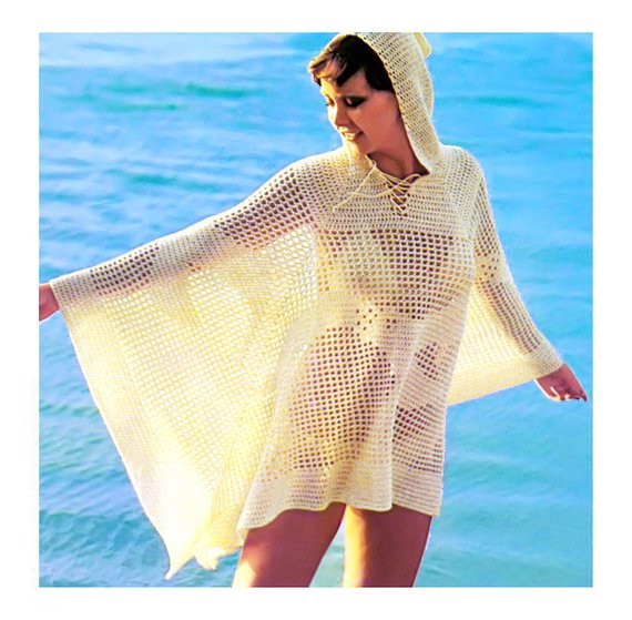 1970s Crochet Pattern Hooded Beach Cover Up Lace Mesh