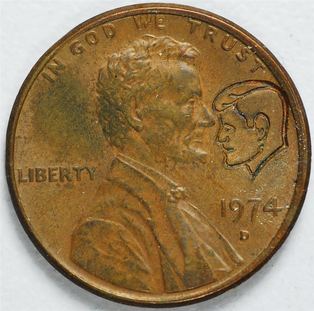 Awesome 1974 D Lincoln Head Penny with Kennedy Head Imprint Ab41 Lincoln Head Penny Of Great 48 Models Lincoln Head Penny