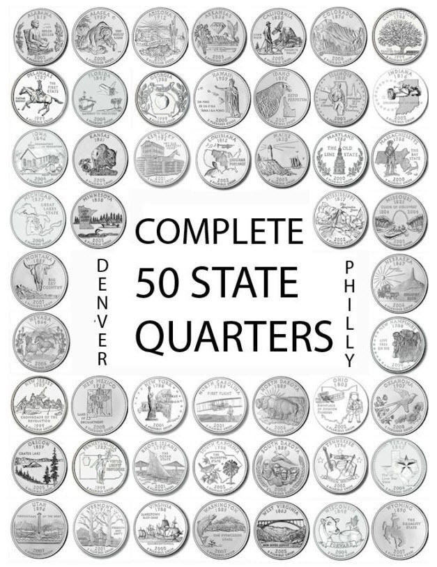 """Awesome 1999 2008 Us State Quarters Plete Uncirculated Set """"p 50 State Commemorative Quarter Of Great 29 Models 50 State Commemorative Quarter"""