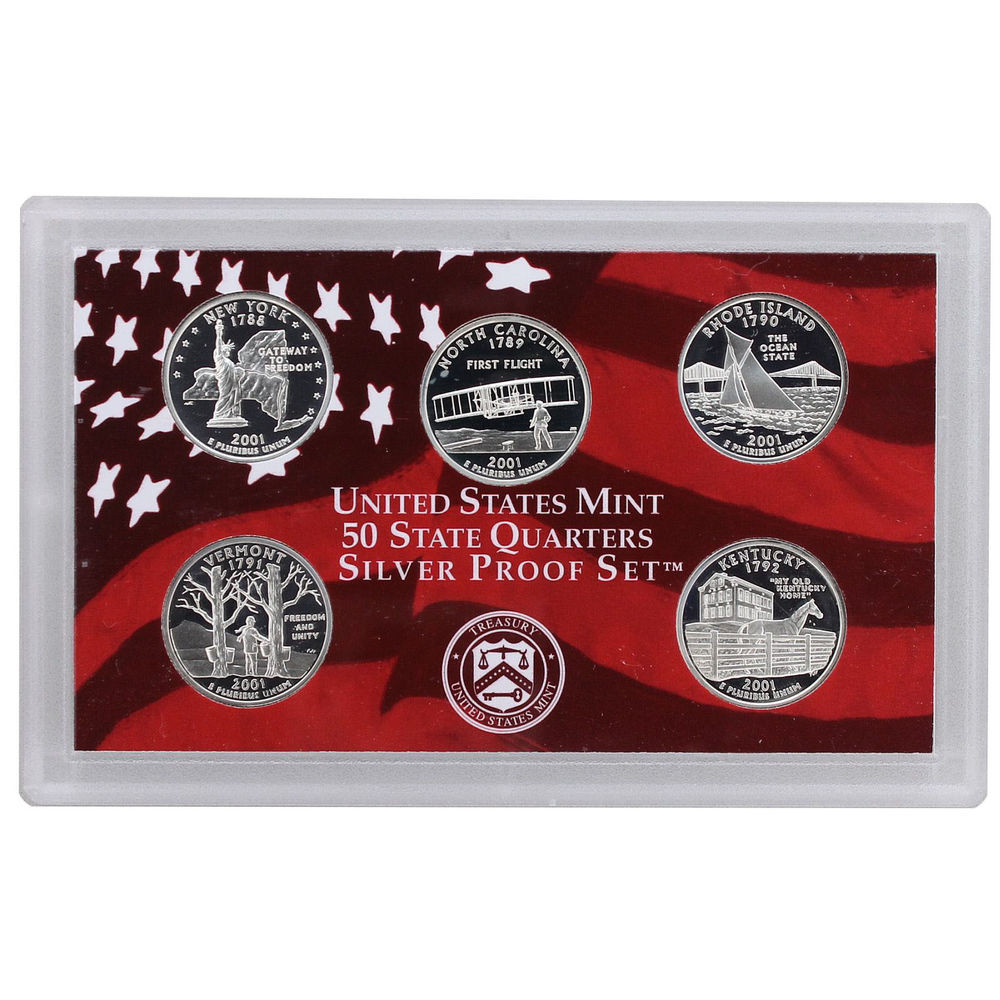 Awesome 2001 S Proof State Quarter Set Silver No Box or Coa 5 State Quarter Proof Set Of Top 48 Images State Quarter Proof Set