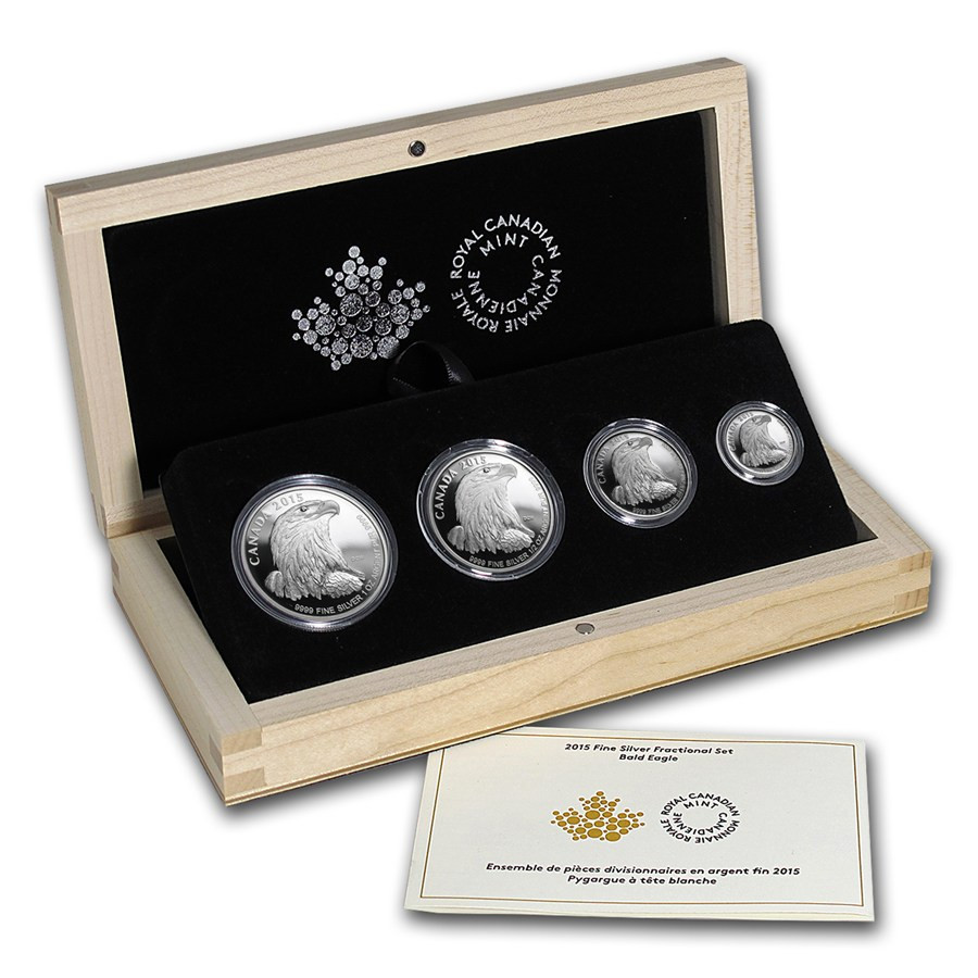 2015 Canada 4 Coin Proof Silver Bald Eagle Fractional Set
