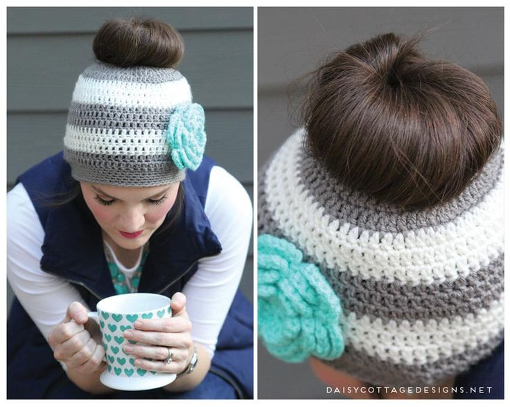 28 best Crochet ponytail hat images on Pinterest