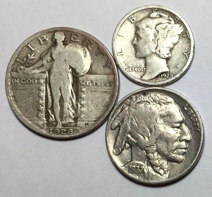 nickles dimes old coins paper money