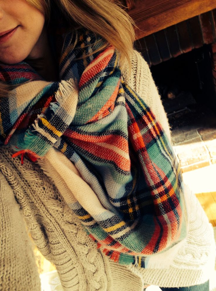 Awesome A Plaid Blanket Scarf with A Cozy Cable Knit Sweater is Cable Knit Sweater Blanket Of Incredible 50 Photos Cable Knit Sweater Blanket