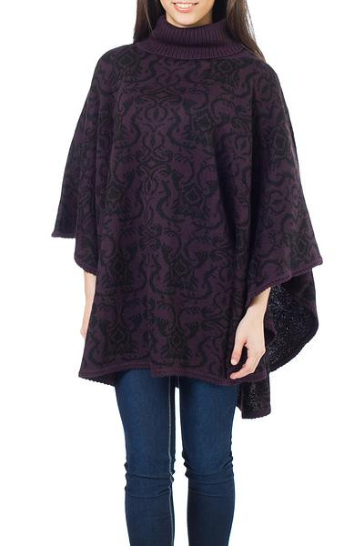 Alpaca Blend Poncho Women s Turtleneck Reversible Sublime