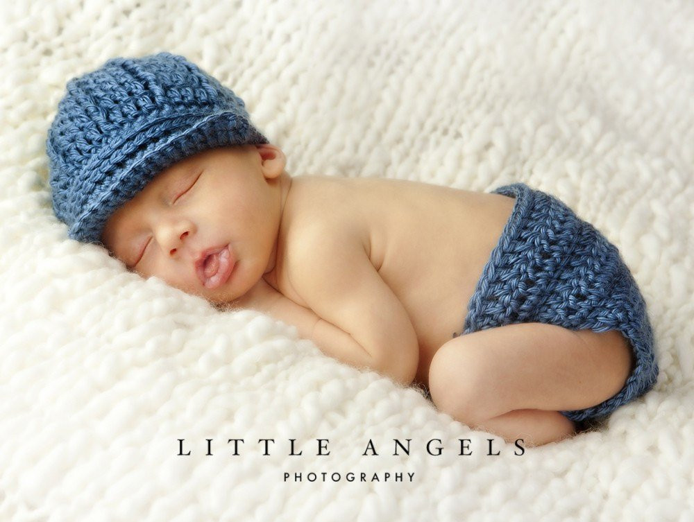 Baby Boy Blue Crochet Hat and Diaper Cover Pattern
