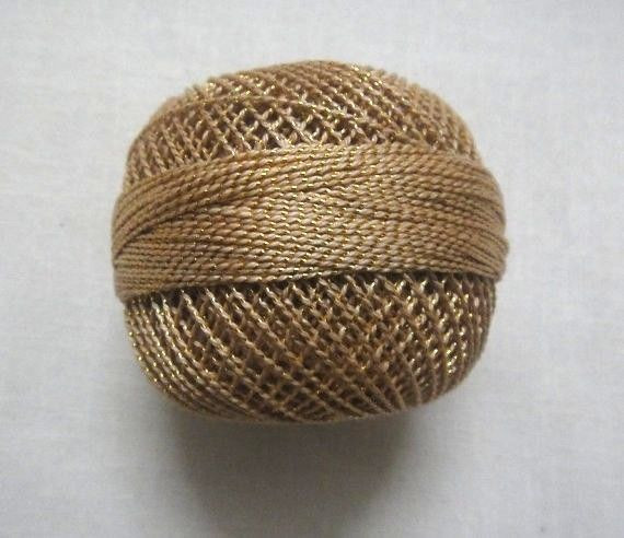 Beige with Gold Lurex 20 grams Cotton Thread Yarn