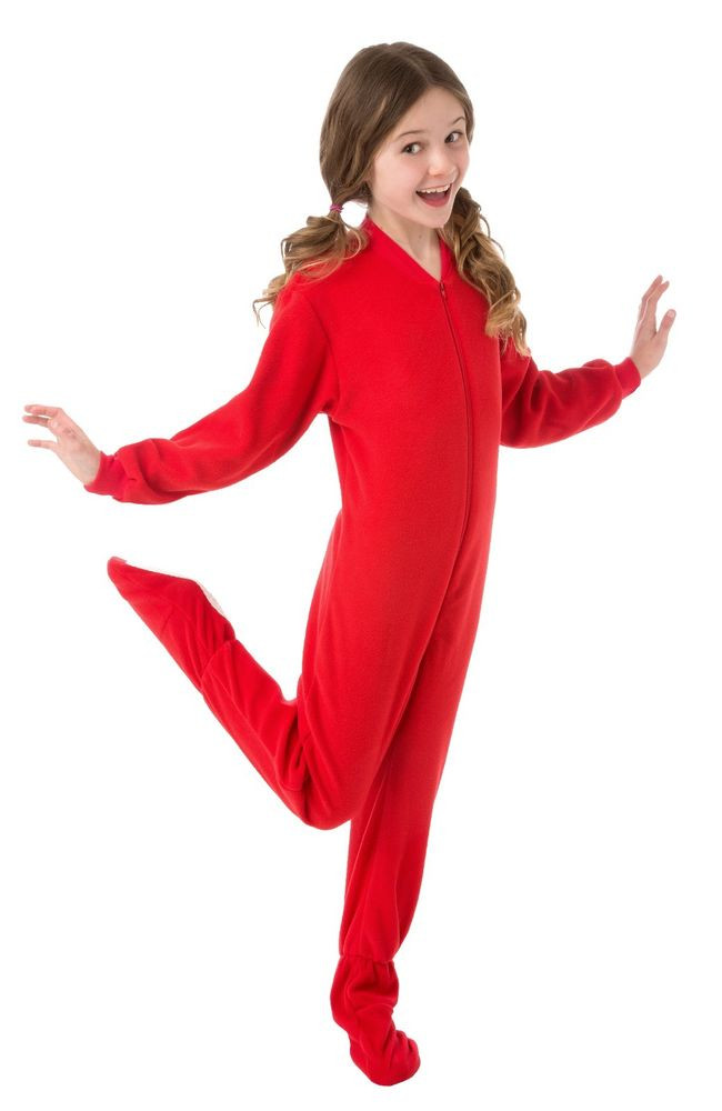 Big Feet Pjs Kids Red Fleece Footed Pajamas