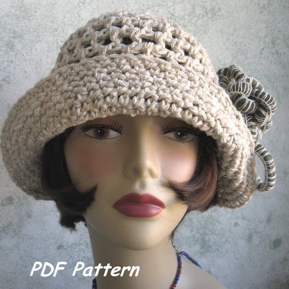 Awesome Brimmed Crochet Hat Pattern Cloche with Flower Trim Pdf Crochet Hat with Brim Pattern Of Contemporary 46 Photos Crochet Hat with Brim Pattern