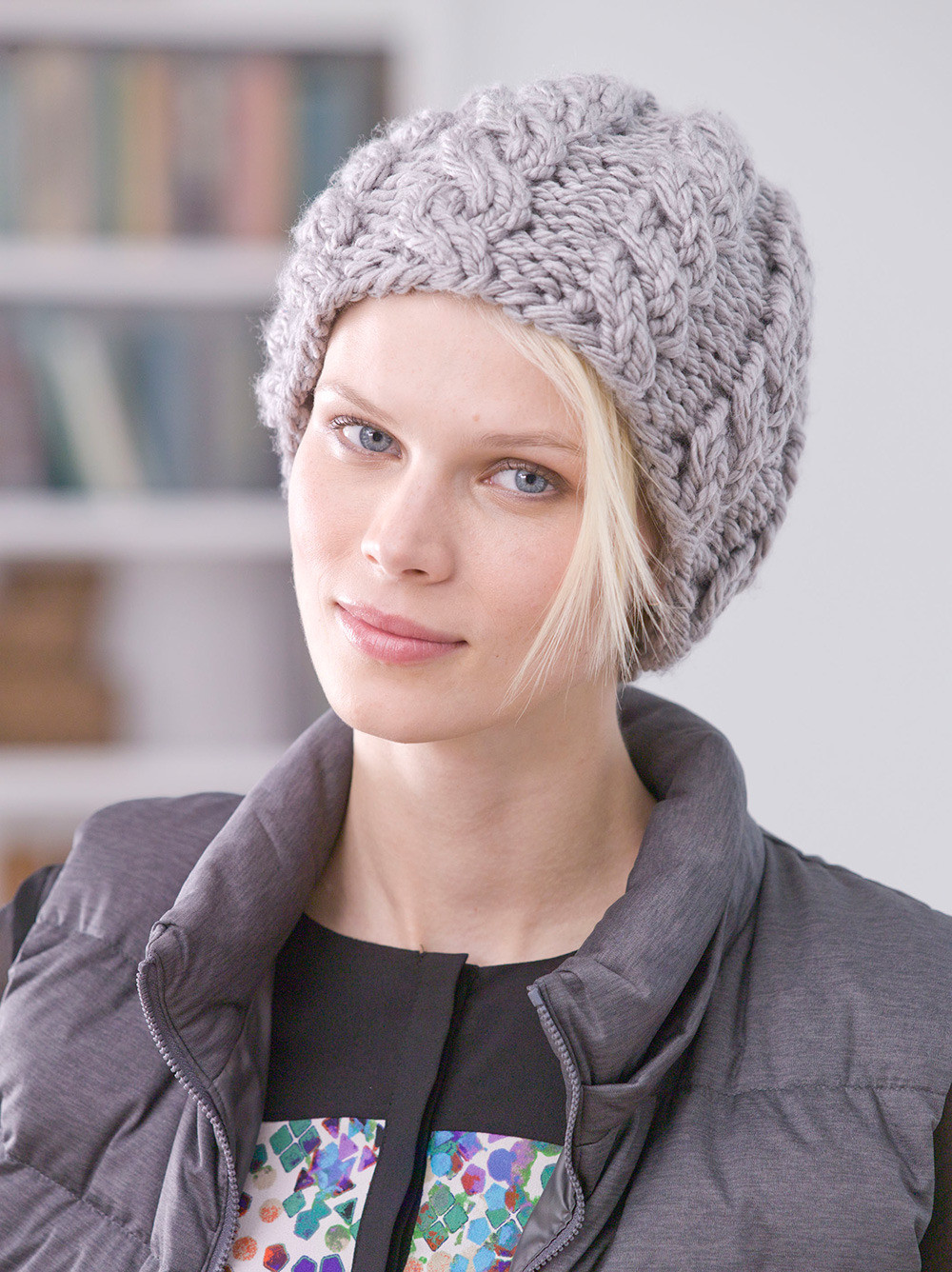 Cabled Hat in Lion Brand Hometown USA L