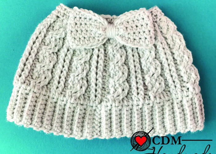 Awesome Cabled Messy Bun Bow Hat A Free Crochet Pattern – Cdm Free Crochet Bun Hat Pattern Of Innovative 43 Pics Free Crochet Bun Hat Pattern