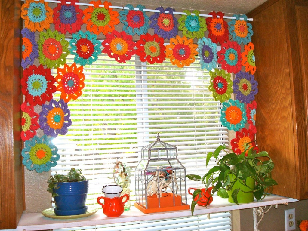 Awesome Cheerful Flower Power Valance Crochet Pattern – Allcrafts Crochet Curtain Patterns Of Contemporary 49 Ideas Crochet Curtain Patterns