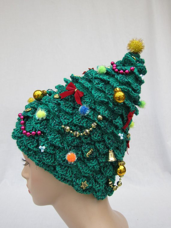 Awesome Christmas Tree Hat Crochet Hat Creative Hat Green Hat Crochet Christmas Hats Of Beautiful 46 Images Crochet Christmas Hats