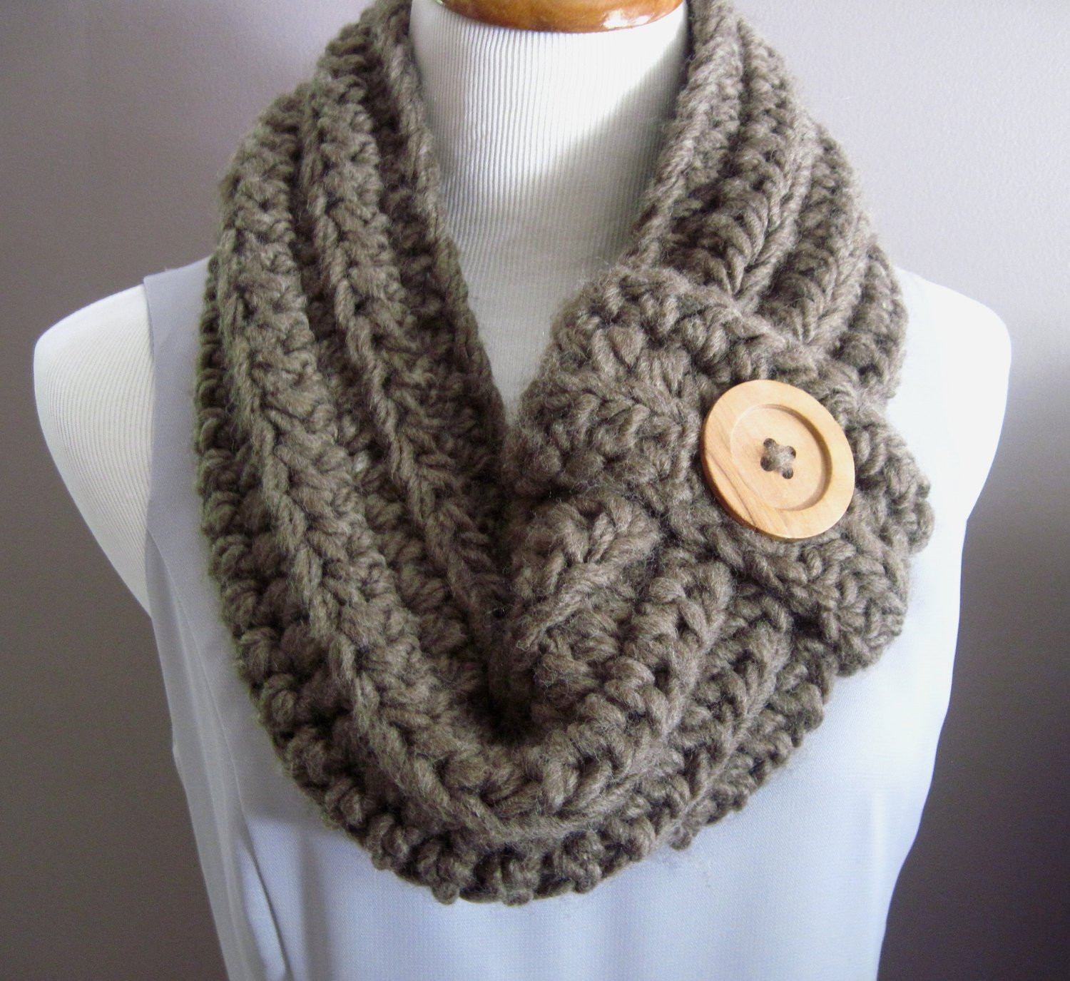 Awesome Chunky Bulky button Crochet Cowl soft Cocoa Brown with Wood Crochet Cowl Scarf Pattern Of Superb 47 Pics Crochet Cowl Scarf Pattern