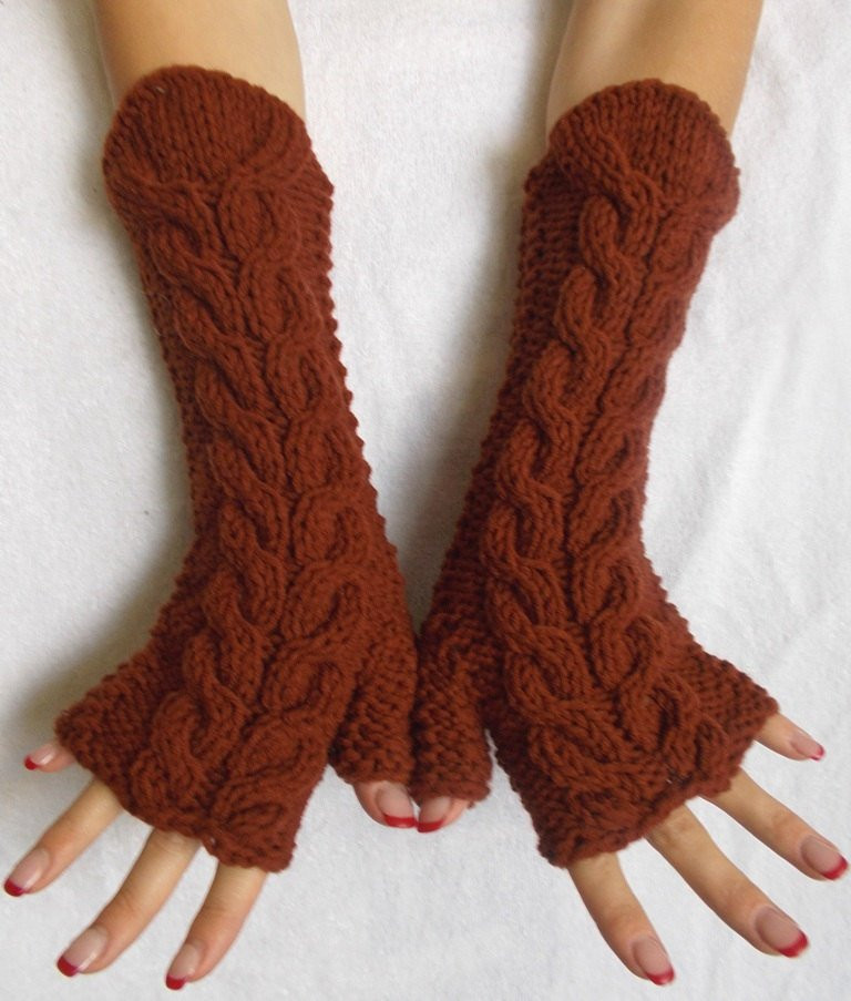 Awesome Chunky Fingerless Gloves Knit Arm Warmers Brown Cabled Knit Arm Warmers Of Brilliant 41 Images Knit Arm Warmers