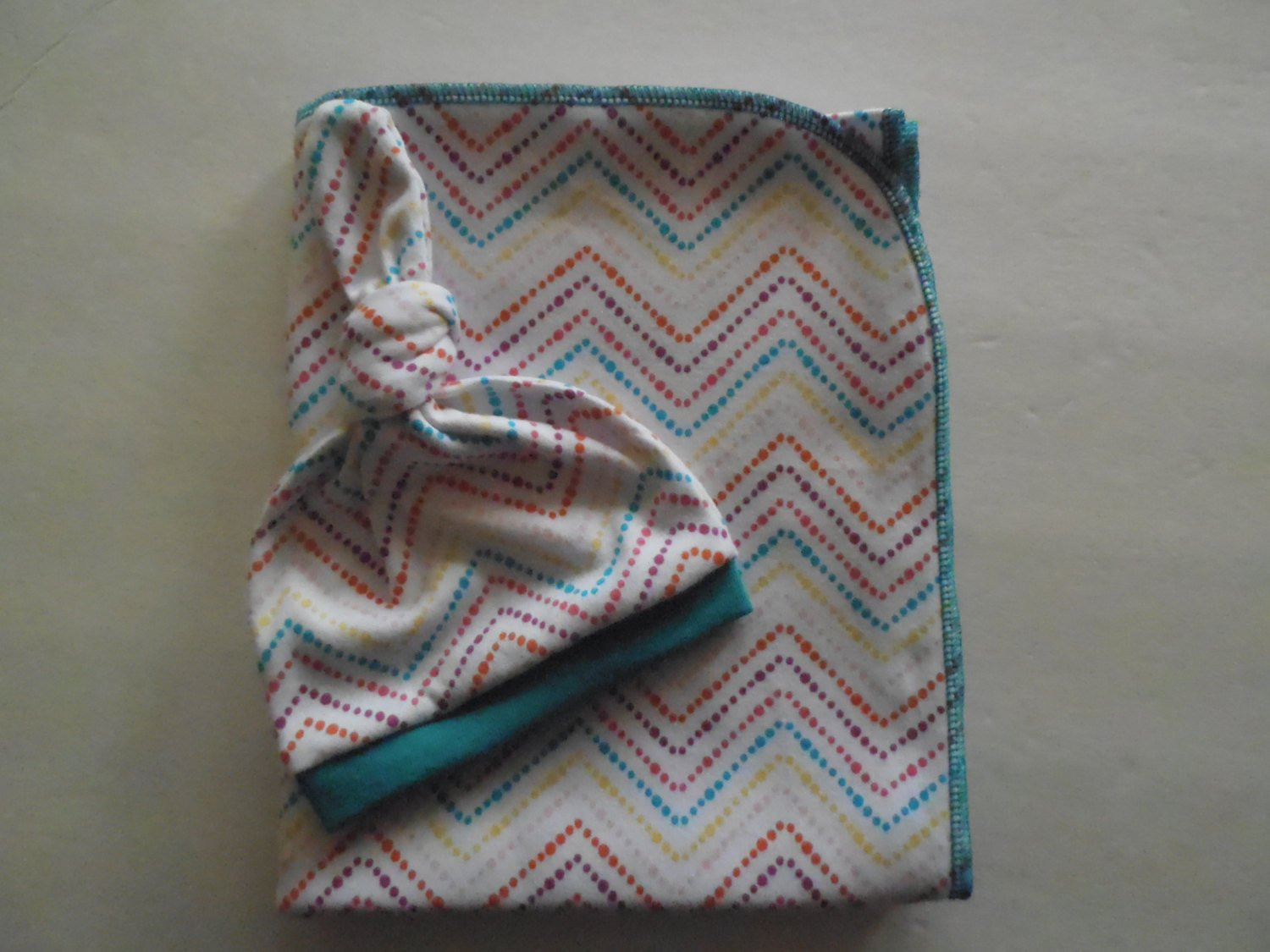 Cotton Knit Baby Swaddle Blanket and Newborn Hat Set