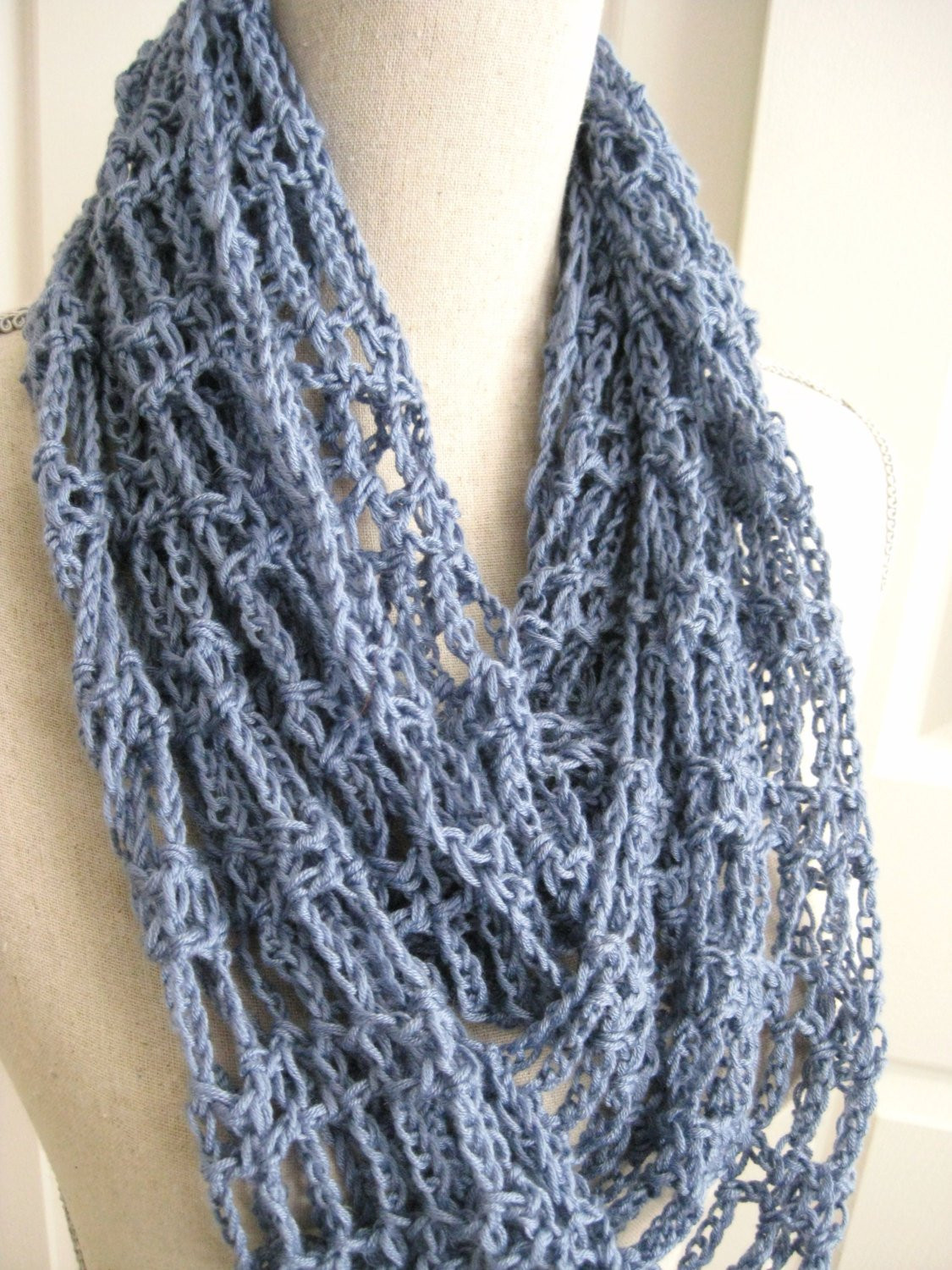 Awesome Cowl Scarf Crocheted Lacy Steel Blue Summer Cowl Spring Lacy Crochet Scarf Patterns Of Amazing 50 Pics Lacy Crochet Scarf Patterns