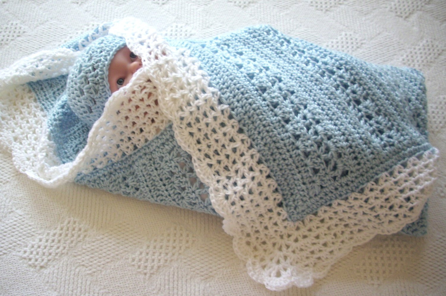 Awesome Crochet Baby Blanket Blue with White Border by Gostitch On Baby Blanket Borders Of Delightful 46 Pics Baby Blanket Borders