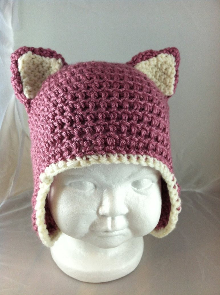 Awesome Crochet Baby Kitty Ears Hat Berries and Cream by Crochet Baby Hat with Ears Of Lovely 43 Pics Crochet Baby Hat with Ears