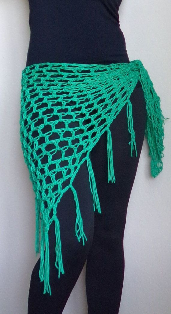 Crochet Beach Sarong in Sea Green Beach Cover Up by