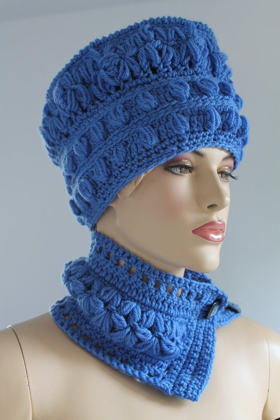 Awesome Crochet Blue Set Of Hat and Scarf Winter by Levintovich Crochet Hat and Scarf Set Of Amazing 44 Models Crochet Hat and Scarf Set