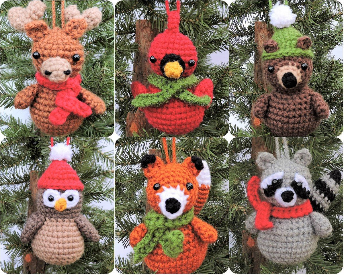 Crochet Christmas Ornament Pattern Woodland Animal
