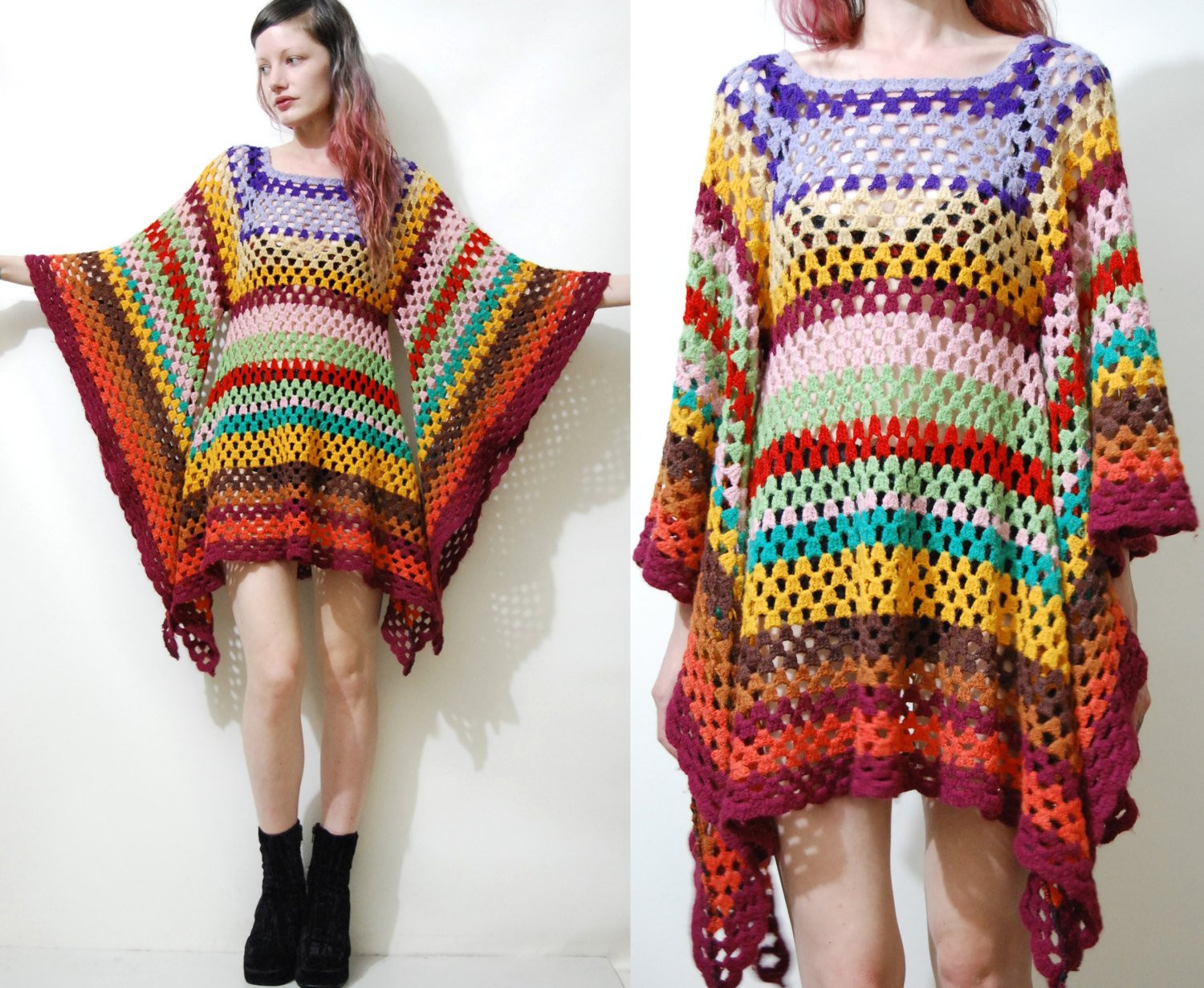 Awesome Crochet Dress Vintage Colourful Granny Square Bell Sleeve Mini Crochet Clothing Patterns Of Amazing 44 Pics Crochet Clothing Patterns