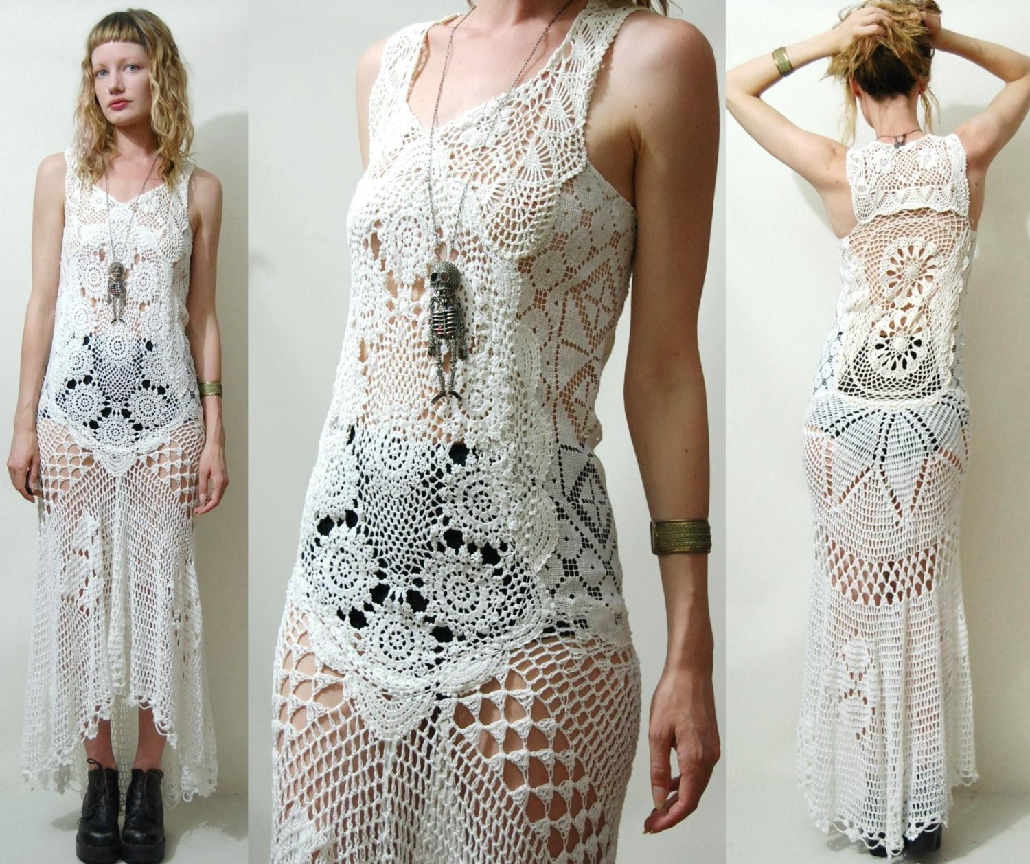 Awesome Crochet Dress Vintage Full Lace White Fishtail Train Bohemian Crochet Dress Of Awesome 50 Pictures Crochet Dress