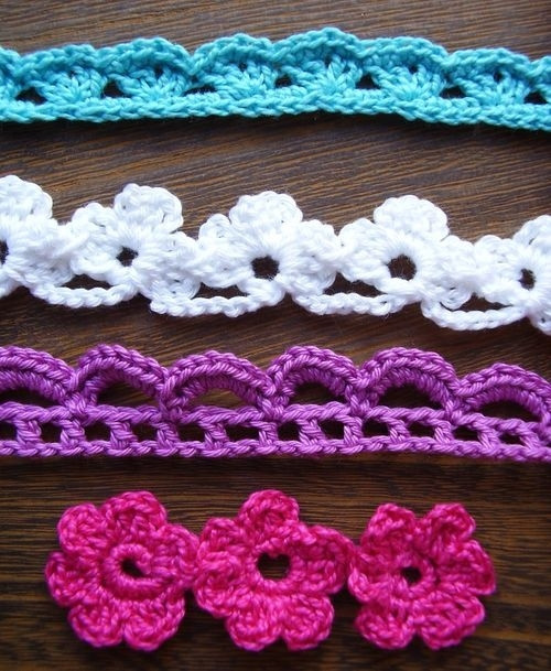 Crochet flowers and lace trim tutorials