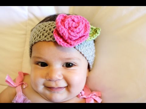 Crochet Glama s Stretchy Rose Headband