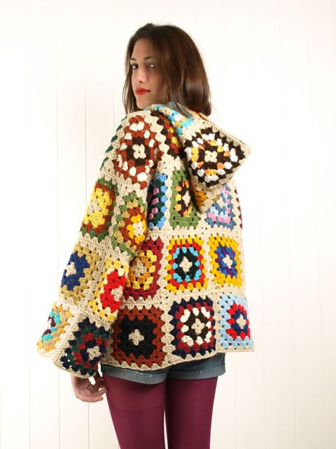 Awesome Crochet Granny Square Hooded Wool Jacket Cardigan Coat Granny Square Cardigan Of Innovative 50 Pics Granny Square Cardigan
