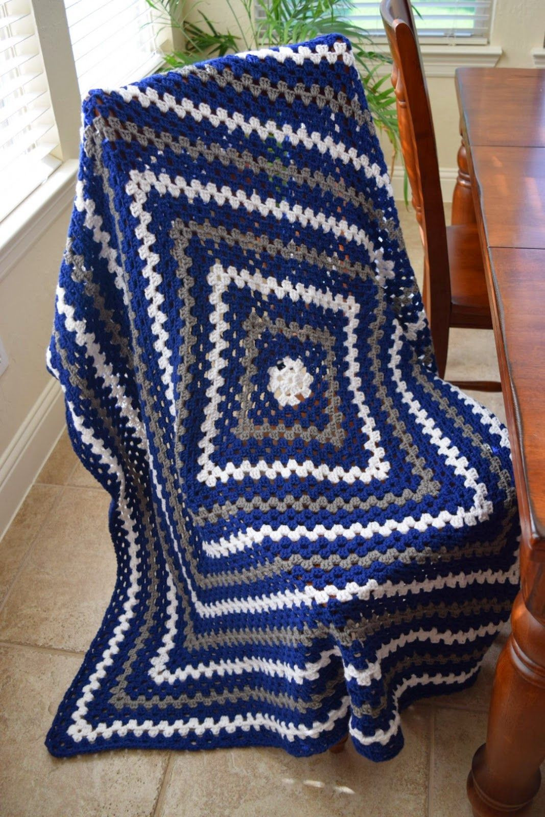 Awesome Crochet Granny Square Lap Blanket In Dallas Cowboys Colors Granny Square Afghan Pattern Beginners Of Superb 24 Pictures Granny Square Afghan Pattern Beginners