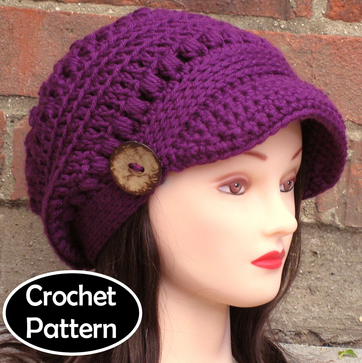 CROCHET HAT PATTERN Instant Download Pdf Brooklyn Newsboy